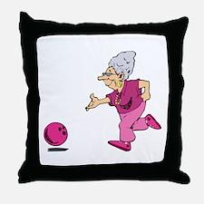 Bowling granny Throw Pillow
