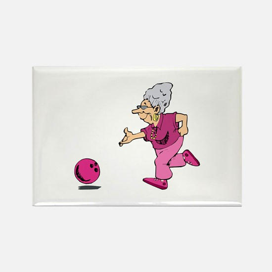 Bowling granny Rectangle Magnet