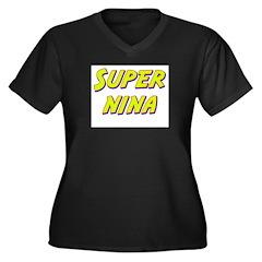 Super nina Women's Plus Size V-Neck Dark T-Shirt