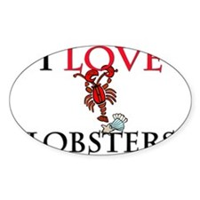 I Love Lobsters Oval Sticker