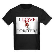 I Love Lobsters Kids Dark T-Shirt