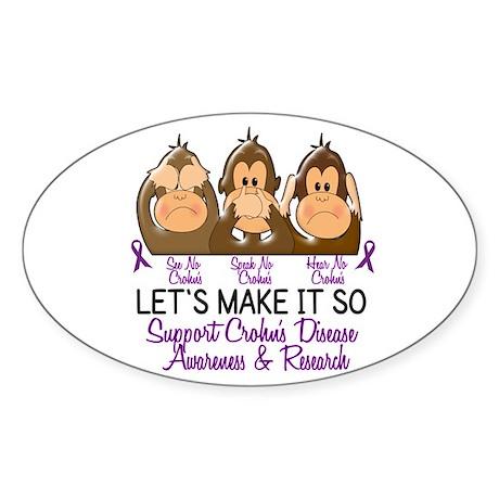 See Speak Hear No Crohn's Disease 2 Oval Sticker