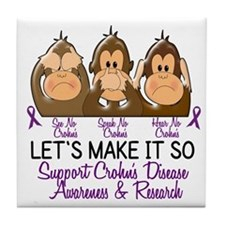 See Speak Hear No Crohn's Disease 2 Tile Coaster
