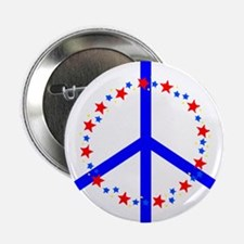 Anti-War Peace Symbol with Stars Button