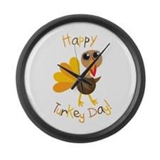 Happy Turkey Day Large Wall Clock