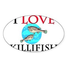 I Love Killifish Oval Decal