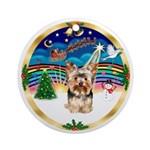 XmasMusic3/ Yorkshire Terrier 17 Ornament (Round)