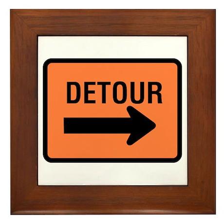 Detour Sign - Framed Tile