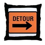 Detour Sign - Throw Pillow