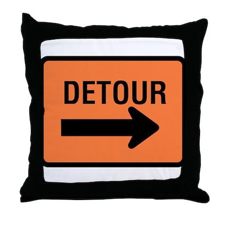 Detour Sign - Throw Pillow