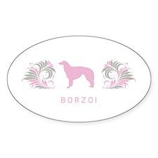 """Elegant"" Borzoi Oval Decal"