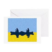 PAINTED BLUE SKY CANOE Greeting Card
