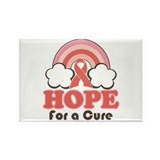 Pink Ribbon Rainbow Hope Rectangle Magnet (10 pack