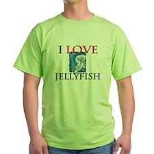 I Love Jellyfish Green T-Shirt