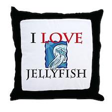 I Love Jellyfish Throw Pillow