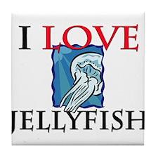 I Love Jellyfish Tile Coaster