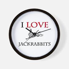 I Love Jackrabbits Wall Clock