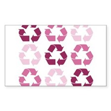 Pink Recycle Signs Rectangle Decal