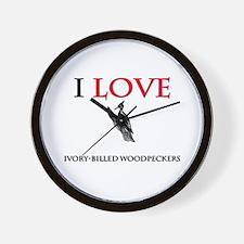 I Love Ivory-Billed Woodpeckers Wall Clock