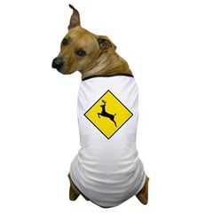 Deer Crossing Sign Dog T-Shirt