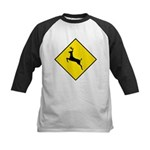 Deer Crossing Sign Kids Baseball Jersey