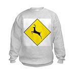 Deer Crossing Sign Kids Sweatshirt