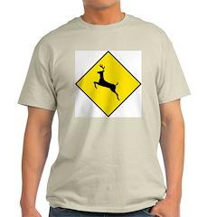 Deer Crossing Sign Ash Grey T-Shirt