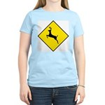 Deer Crossing Sign Women's Pink T-Shirt