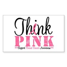 Think Pink Breast Cancer Rectangle Sticker 10 pk)