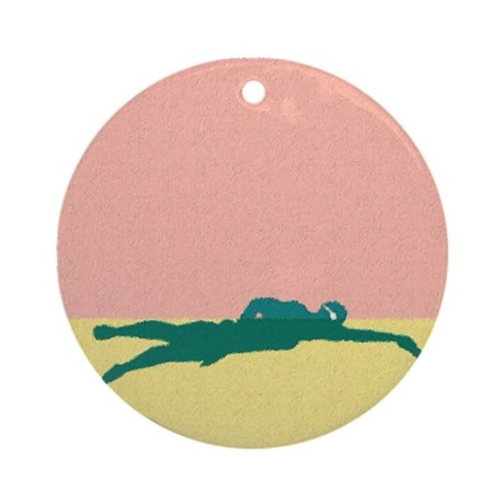 PAINTED GREEN SWIMMER Ornament (Round)