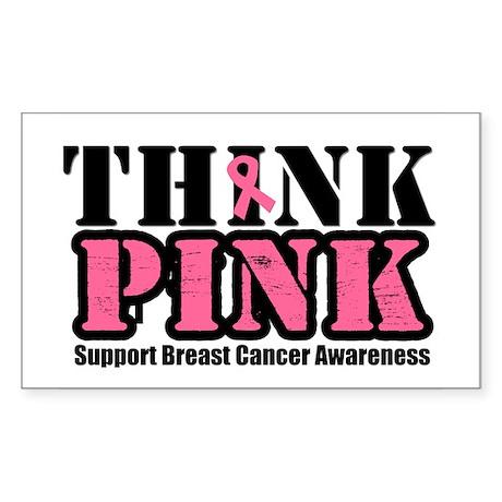 ThinkPinkGrunge Breast Cancer Rectangle Sticker