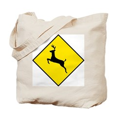 Deer Crossing Sign - Tote Bag