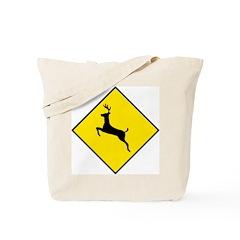 Deer Crossing Sign - Tote Bag