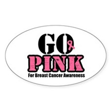 Go Pink Breast Cancer Oval Decal