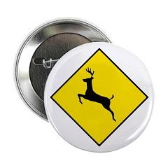 Deer Crossing Sign - Button