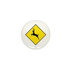 Deer Crossing Sign - Mini Button (100 pack)