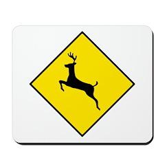 Deer Crossing Sign - Mousepad