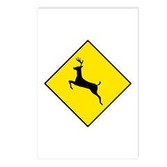 Deer Crossing Sign - Postcards (Package of 8)
