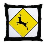 Deer Crossing Sign - Throw Pillow