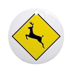 Deer Crossing Sign - Keepsake (Round)