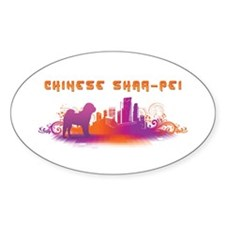 """City"" Chinese Shar-Pei Oval Decal"