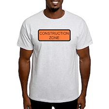 Construction Zone Sign Ash Grey T-Shirt