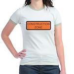 Construction Zone Sign Jr. Ringer T-Shirt