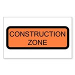 Construction Zone Sign - Rectangle Sticker