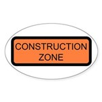 Construction Zone Sign - Oval Sticker