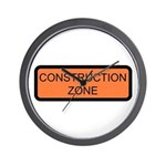 Construction Zone Sign - Wall Clock