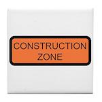 Construction Zone Sign - Tile Coaster
