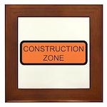 Construction Zone Sign - Framed Tile