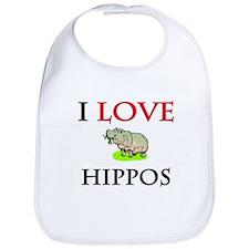 I Love Hippos Bib