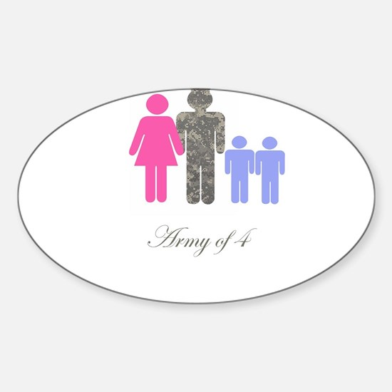 Army of 4 (2 boys) Oval Bumper Stickers